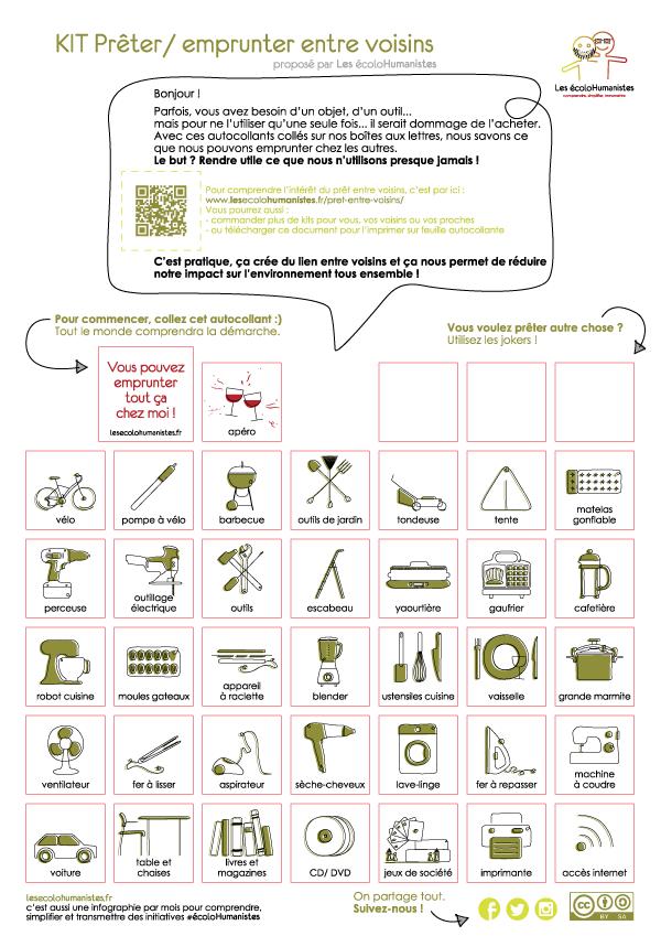 Kit de stickers pour prêter et emprunter entre voisins